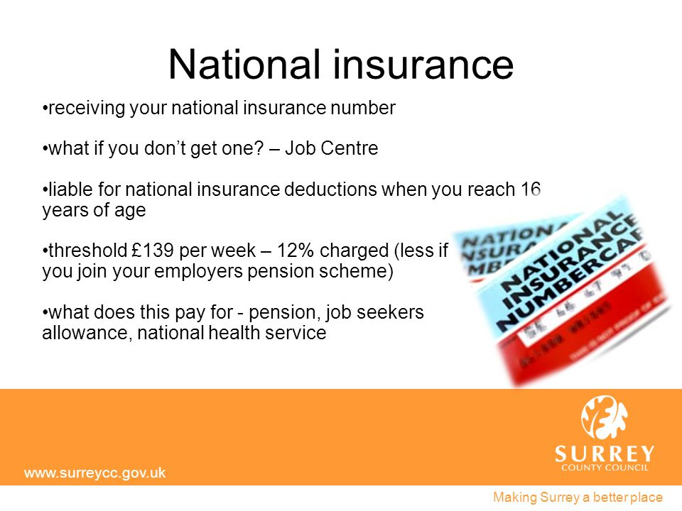 National insurance www.surreycc.gov.uk Making Surrey a better place receiving your national insurance number what if you don't get one.