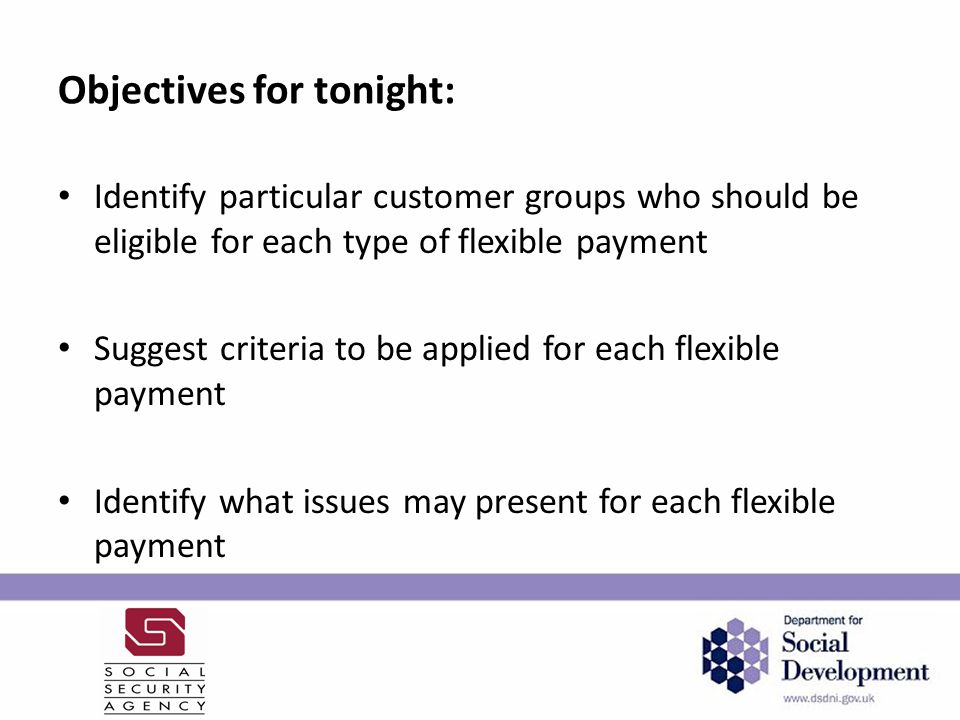 Areas for discussion Criteria for allowing a split payment of Universal Credit between two parties in the household; Criteria for allowing payment of Universal Credit twice a month; and Criteria for opt out when direct payment to landlords has been in place