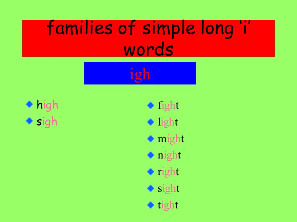 families of simple long 'i' words high sigh igh fight light might night right sight tight
