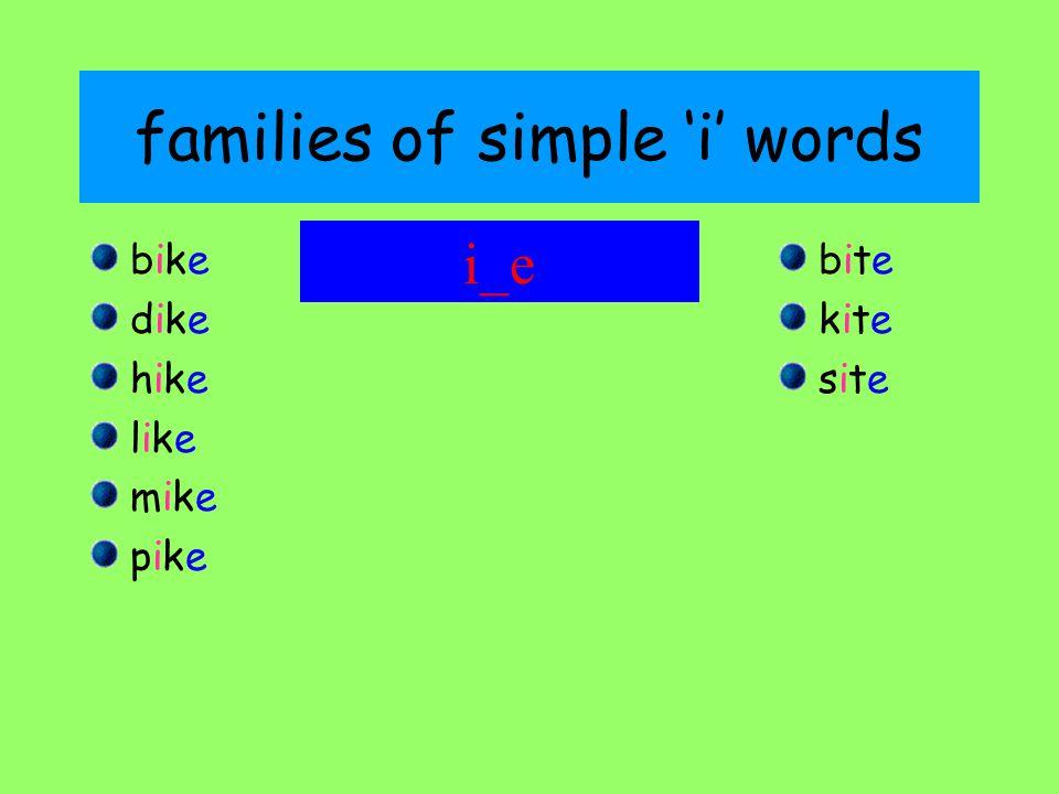 families of simple 'i' words bikebike dikedike hikehike likelike mikemike pikepike bitebite kitekite sitesite i_e