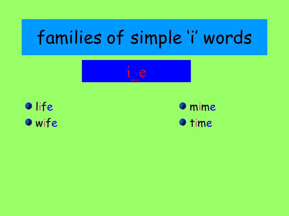families of simple 'i' words lifelife wifewife mimemime timetime i_e