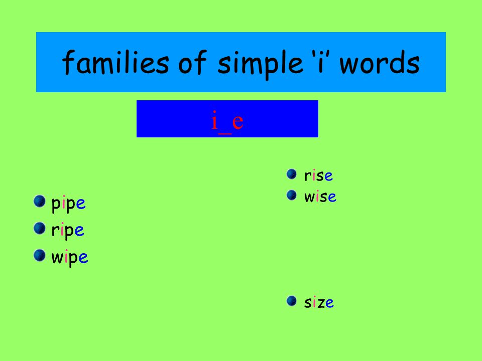 families of simple 'i' words pipepipe riperipe wipewipe riserise wisewise sizesize i_e