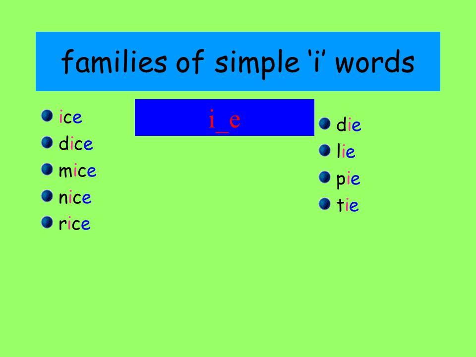 families of simple 'i' words iceice dicedice micemice nicenice ricerice diedie lielie piepie tietie i_e