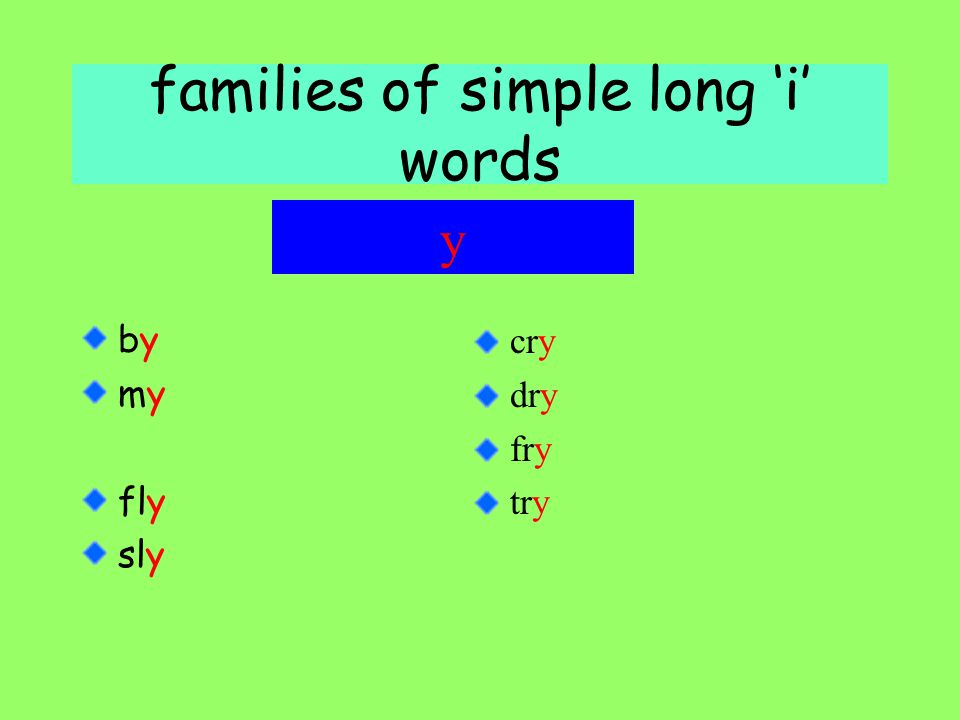 families of simple long 'i' words byby mymy fly sly y cry dry fry try