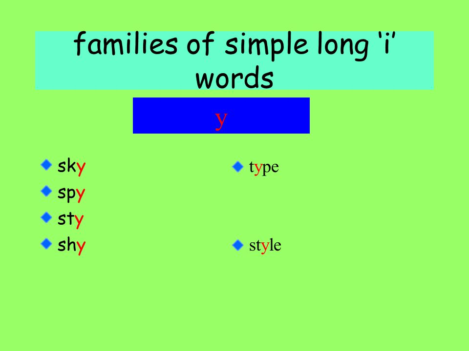 families of simple long 'i' words sky spy sty shy y type style
