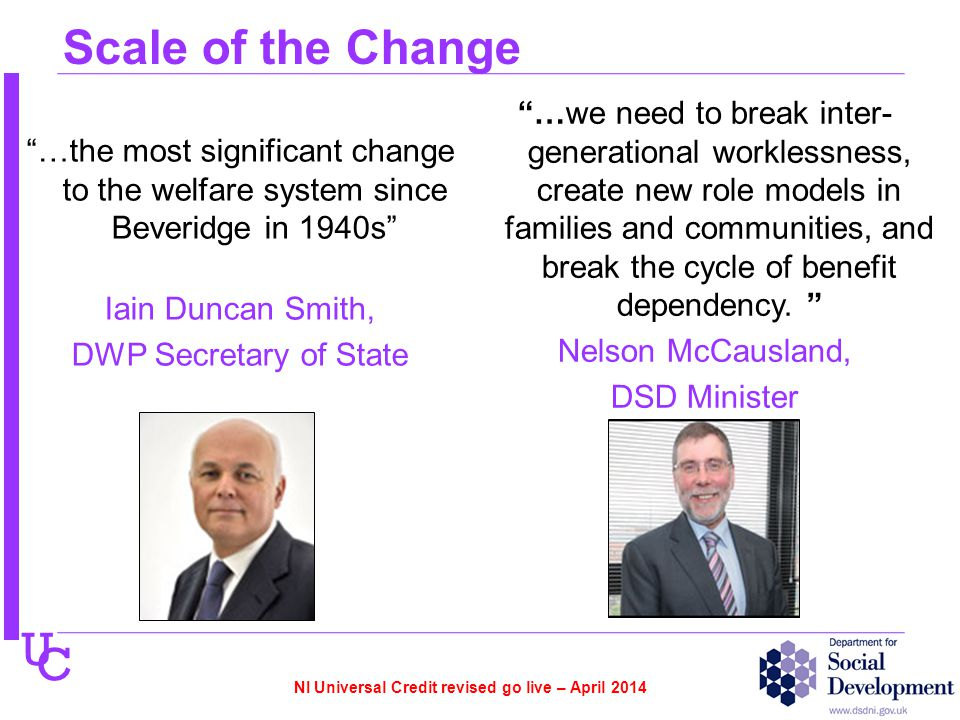 U C Scale of the Change …the most significant change to the welfare system since Beveridge in 1940s Iain Duncan Smith, DWP Secretary of State …we need to break inter- generational worklessness, create new role models in families and communities, and break the cycle of benefit dependency.