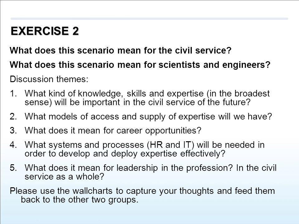 EXERCISE 2 What does this scenario mean for the civil service.