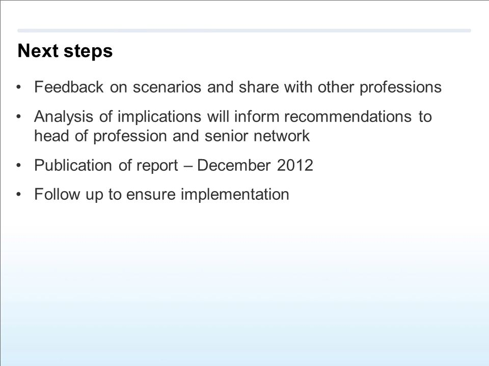 Next steps Feedback on scenarios and share with other professions Analysis of implications will inform recommendations to head of profession and senior network Publication of report – December 2012 Follow up to ensure implementation