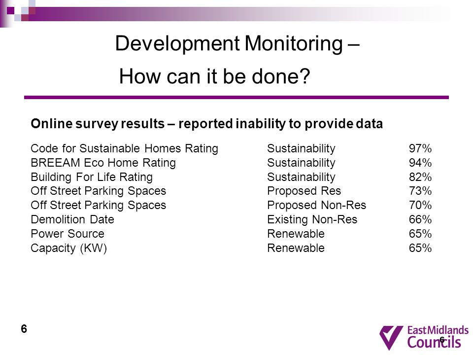6 Development Monitoring – How can it be done.