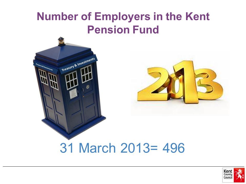 Number of Employers in the Kent Pension Fund 31 March 2013= 496