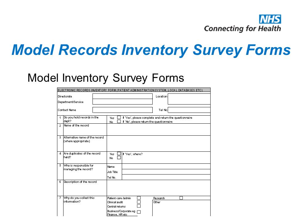 Model Records Inventory Survey Forms Model Inventory Survey Forms