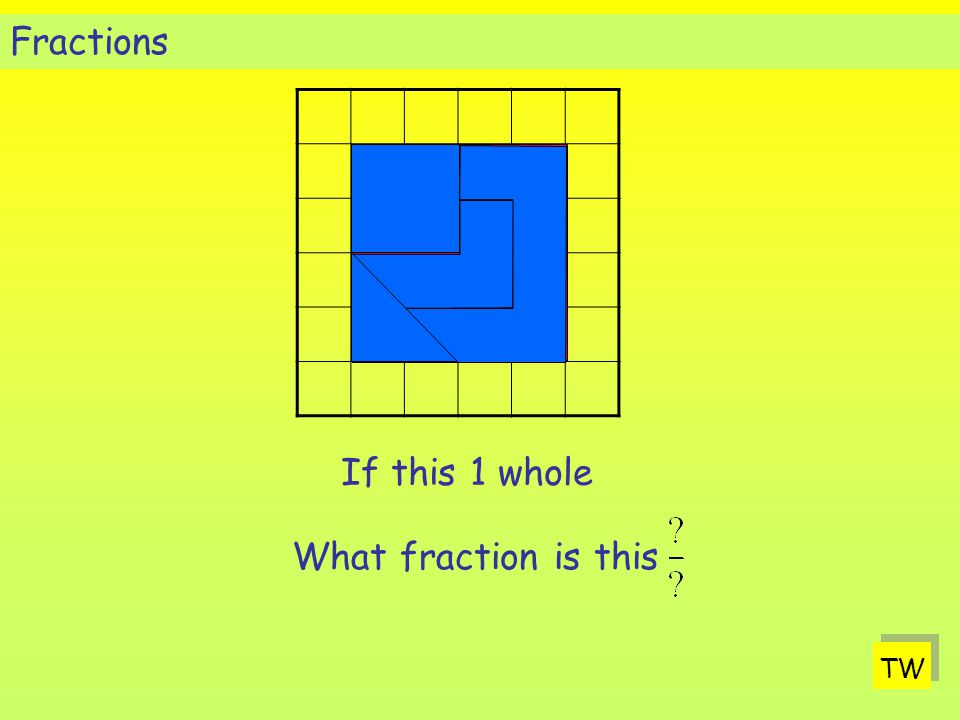 TW If this 1 whole What fraction is this Fractions