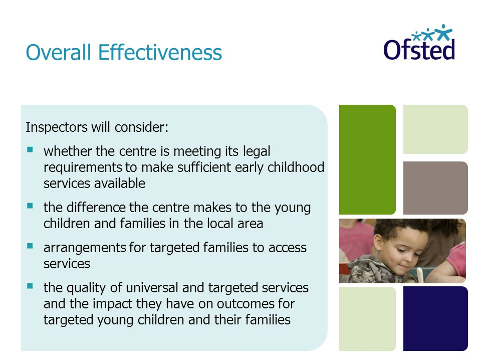 Inspectors will consider:  whether the centre is meeting its legal requirements to make sufficient early childhood services available  the differenc