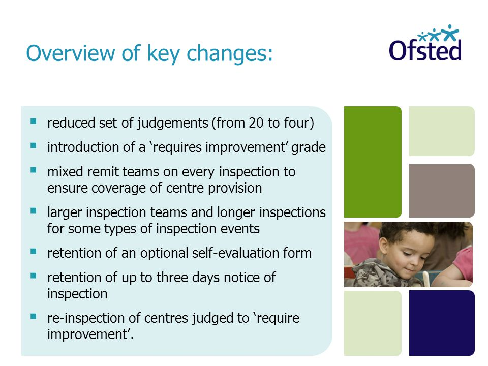  reduced set of judgements (from 20 to four)  introduction of a 'requires improvement' grade  mixed remit teams on every inspection to ensure cover