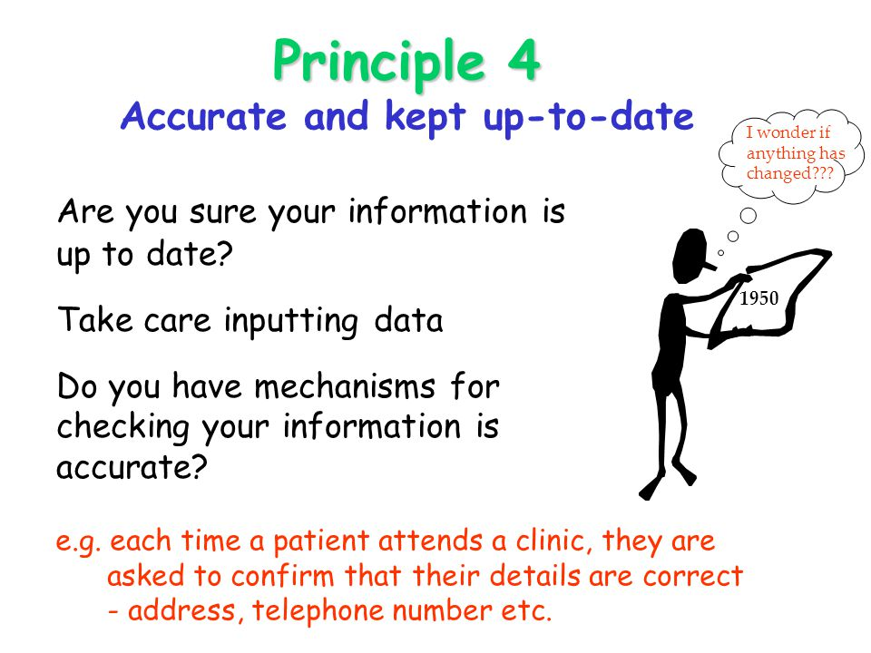 Principle 4 Principle 4 Accurate and kept up-to-date Are you sure your information is up to date.