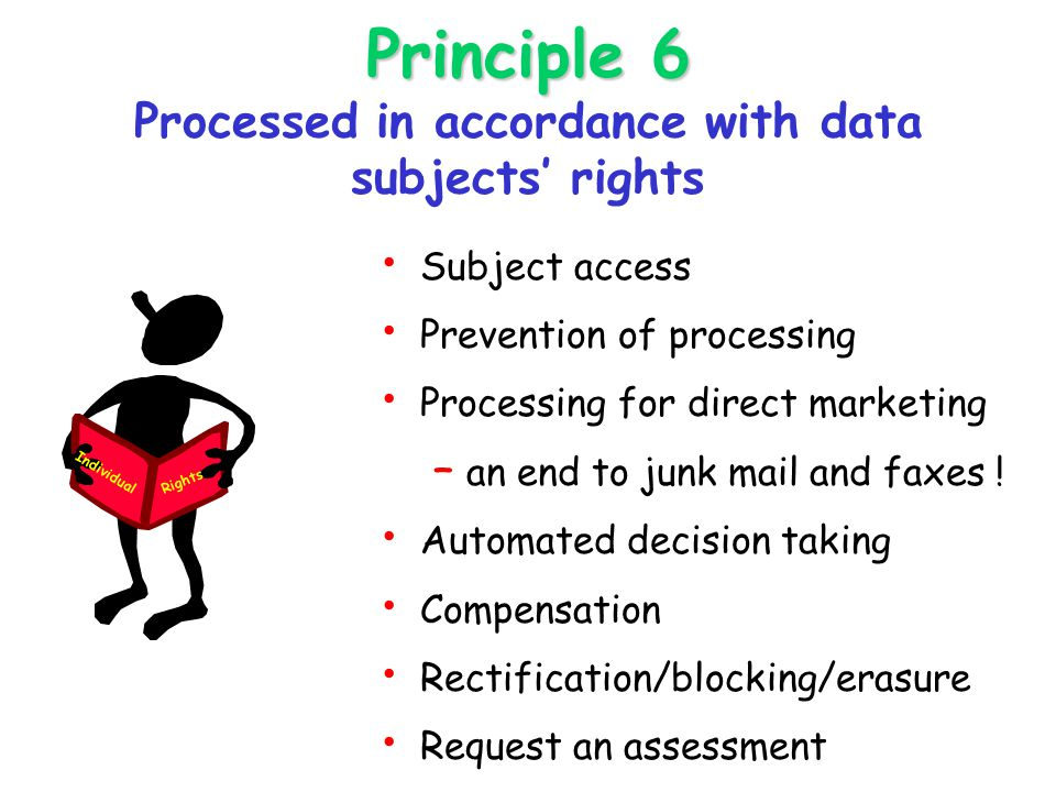 Principle 6 Principle 6 Processed in accordance with data subjects' rights Subject access Prevention of processing Processing for direct marketing – an end to junk mail and faxes .