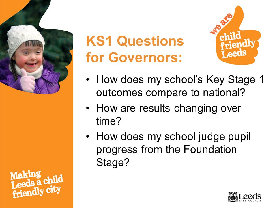 KS1 Questions for Governors: How does my school's Key Stage 1 outcomes compare to national? How are results changing over time? How does my school jud