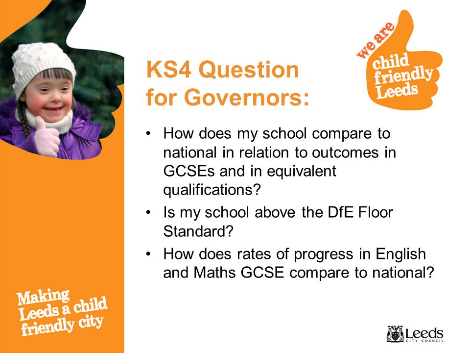 KS4 Question for Governors: How does my school compare to national in relation to outcomes in GCSEs and in equivalent qualifications.