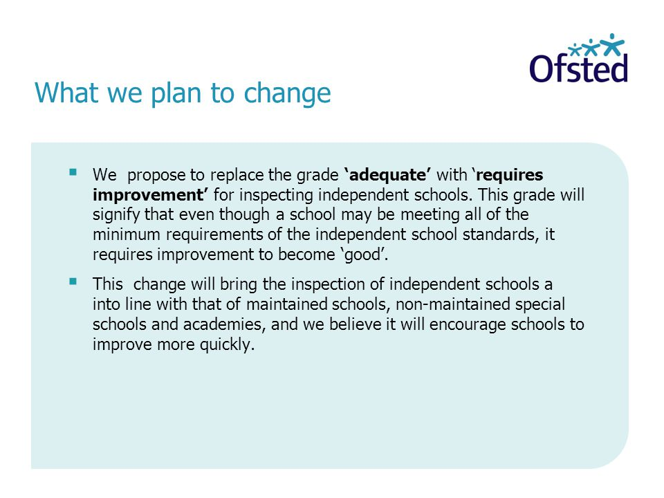  We propose to replace the grade 'adequate' with 'requires improvement' for inspecting independent schools.