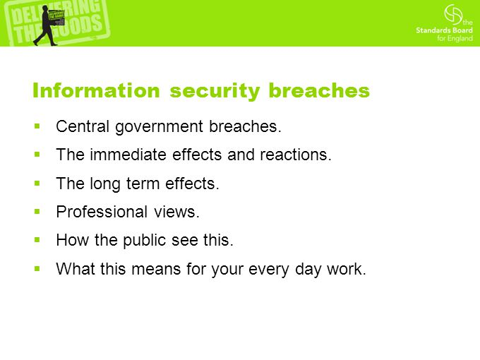 Information security breaches  Central government breaches.