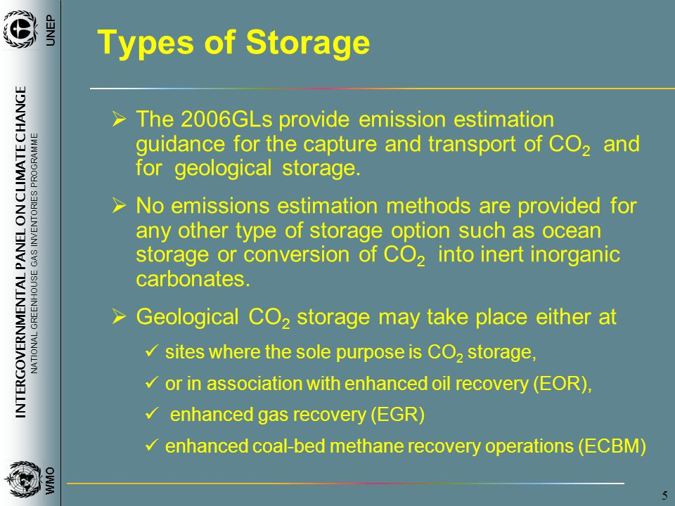 INTERGOVERNMENTAL PANEL ON CLIMATE CHANGE NATIONAL GREENHOUSE GAS INVENTORIES PROGRAMME WMO UNEP 6 CCS