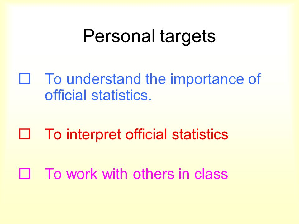 Personal targets  To understand the importance of official statistics.  To interpret official statistics  To work with others in class