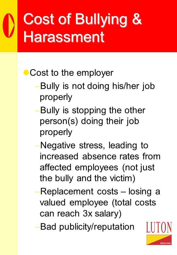 Cost of Bullying & Harassment Cost to the employer  Bully is not doing his/her job properly  Bully is stopping the other person(s) doing their job properly  Negative stress, leading to increased absence rates from affected employees (not just the bully and the victim)  Replacement costs – losing a valued employee (total costs can reach 3x salary)  Bad publicity/reputation