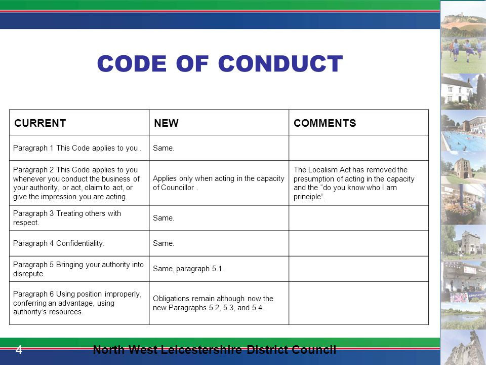 CODE OF CONDUCT CURRENTNEWCHANGES Paragraph 7 Regard to advice from authority's officers.