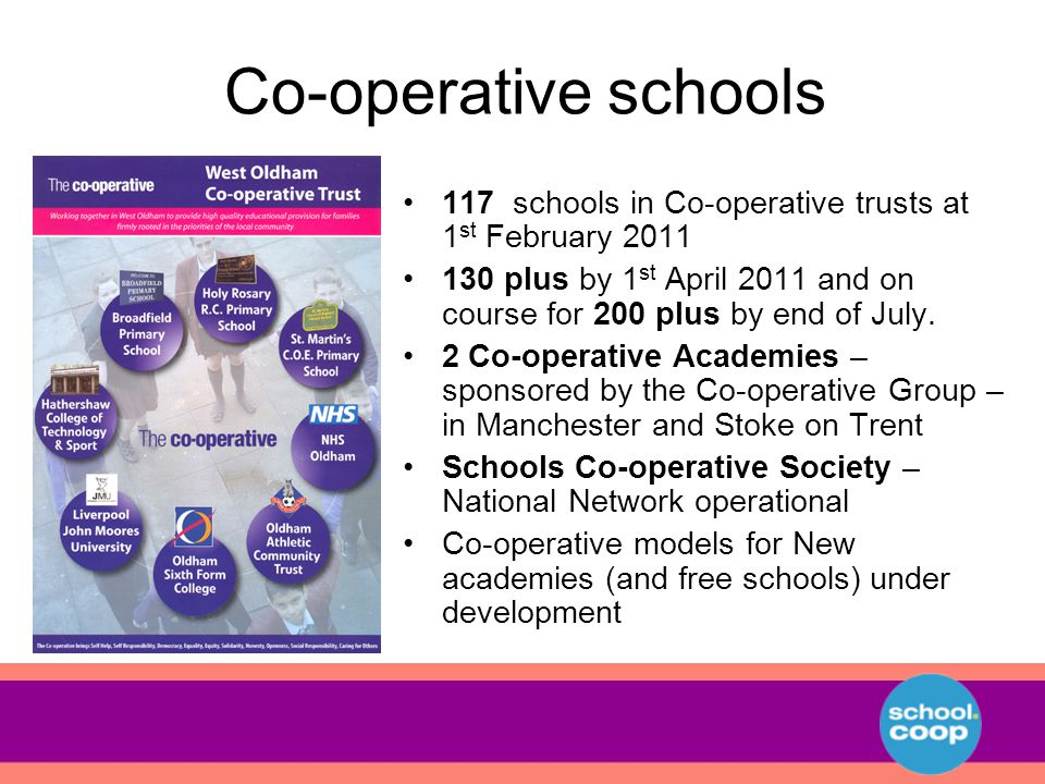 Co-operative schools 117 schools in Co-operative trusts at 1 st February 2011 130 plus by 1 st April 2011 and on course for 200 plus by end of July.