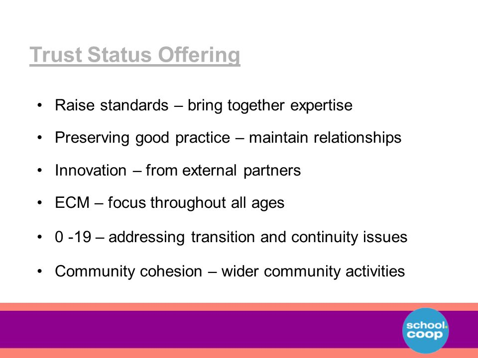 Raise standards – bring together expertise Preserving good practice – maintain relationships Innovation – from external partners ECM – focus throughout all ages 0 -19 – addressing transition and continuity issues Community cohesion – wider community activities Trust Status Offering