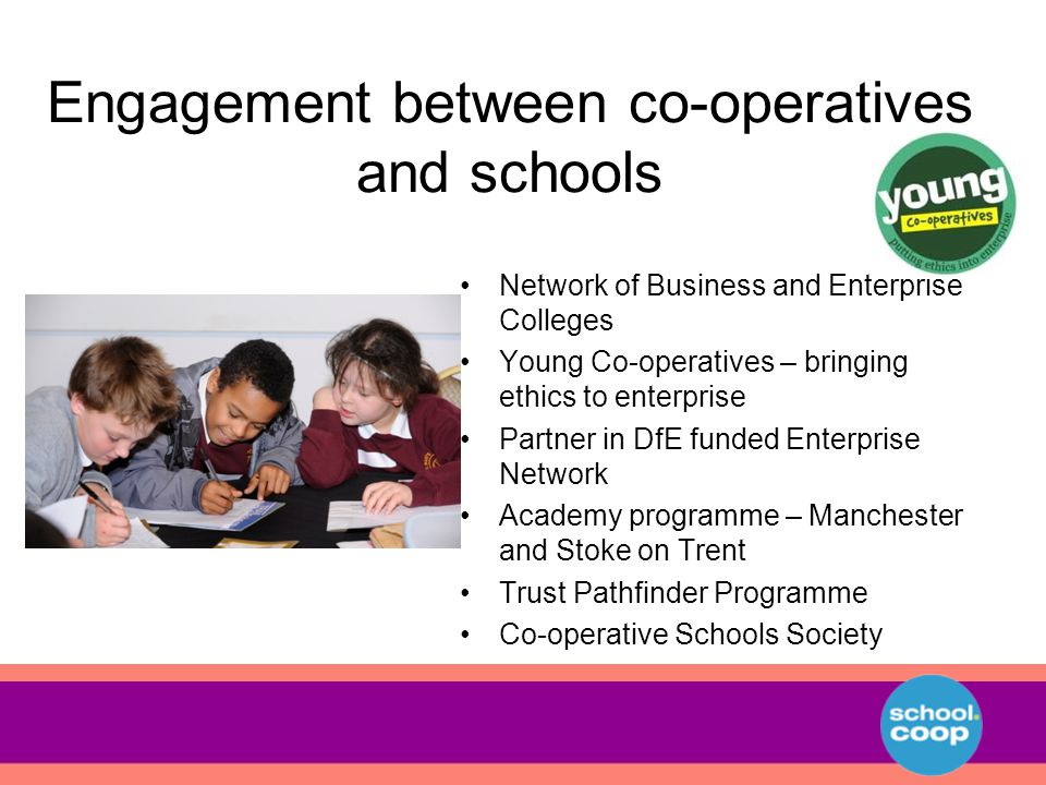 Engagement between co-operatives and schools Network of Business and Enterprise Colleges Young Co-operatives – bringing ethics to enterprise Partner in DfE funded Enterprise Network Academy programme – Manchester and Stoke on Trent Trust Pathfinder Programme Co-operative Schools Society