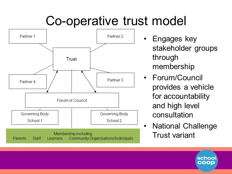 Co-operative trust model Engages key stakeholder groups through membership Forum/Council provides a vehicle for accountability and high level consultation National Challenge Trust variant Trust Partner 1Partner 2 Partner 4 Partner 3 Forum or Council Membership including Parents Staff Learners Community Organisations/Individuals Governing Body School 1 Governing Body School 2