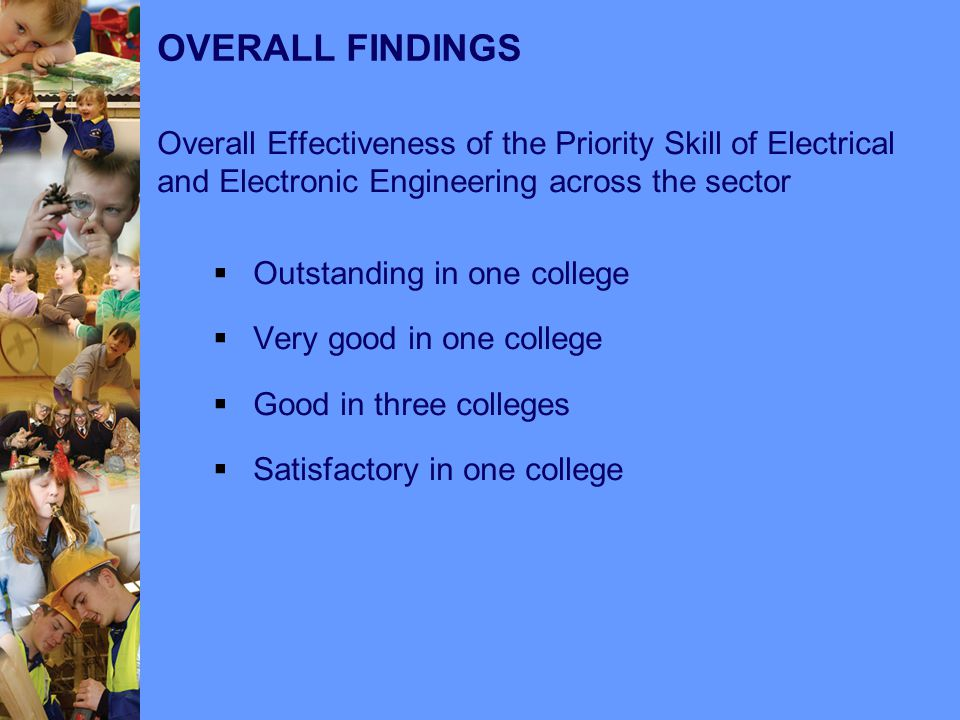 OVERALL FINDINGS Overall Effectiveness of the Priority Skill of Electrical and Electronic Engineering across the sector  Outstanding in one college  Very good in one college  Good in three colleges  Satisfactory in one college