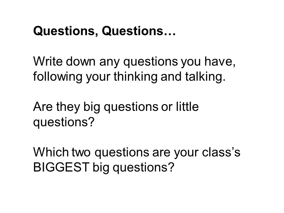 Questions, Questions… Write down any questions you have, following your thinking and talking. Are they big questions or little questions? Which two qu