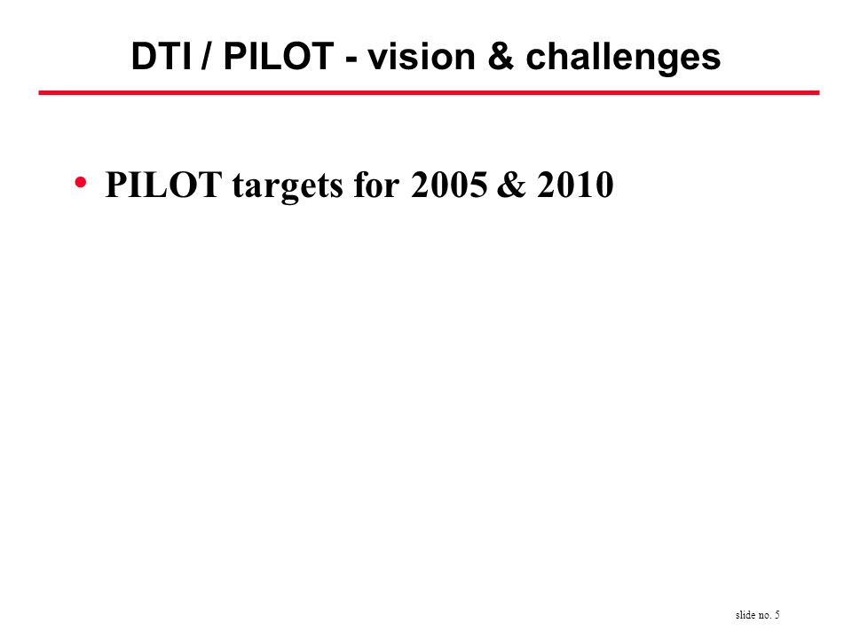 slide no. 5 DTI / PILOT - vision & challenges PILOT targets for 2005 & 2010