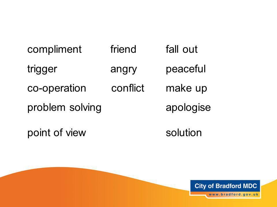 Key vocabulary – Year 1 and 2 compliment friend fall out trigger angry peaceful co-operation conflict make up problem solvingapologise point of viewso