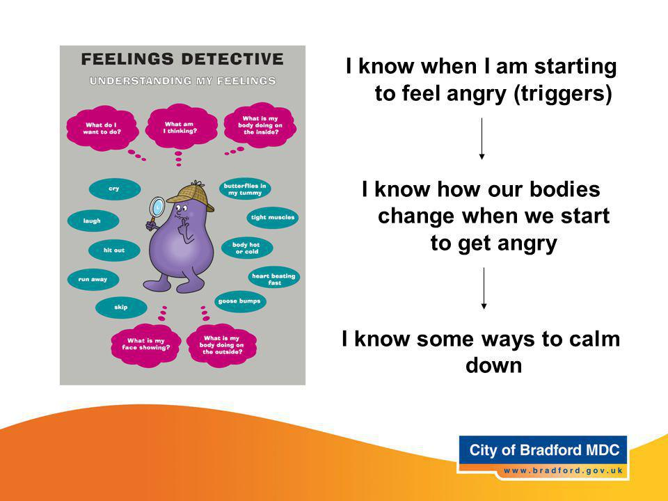 Understanding and managing feelings - Anger I know when I am starting to feel angry (triggers) I know how our bodies change when we start to get angry