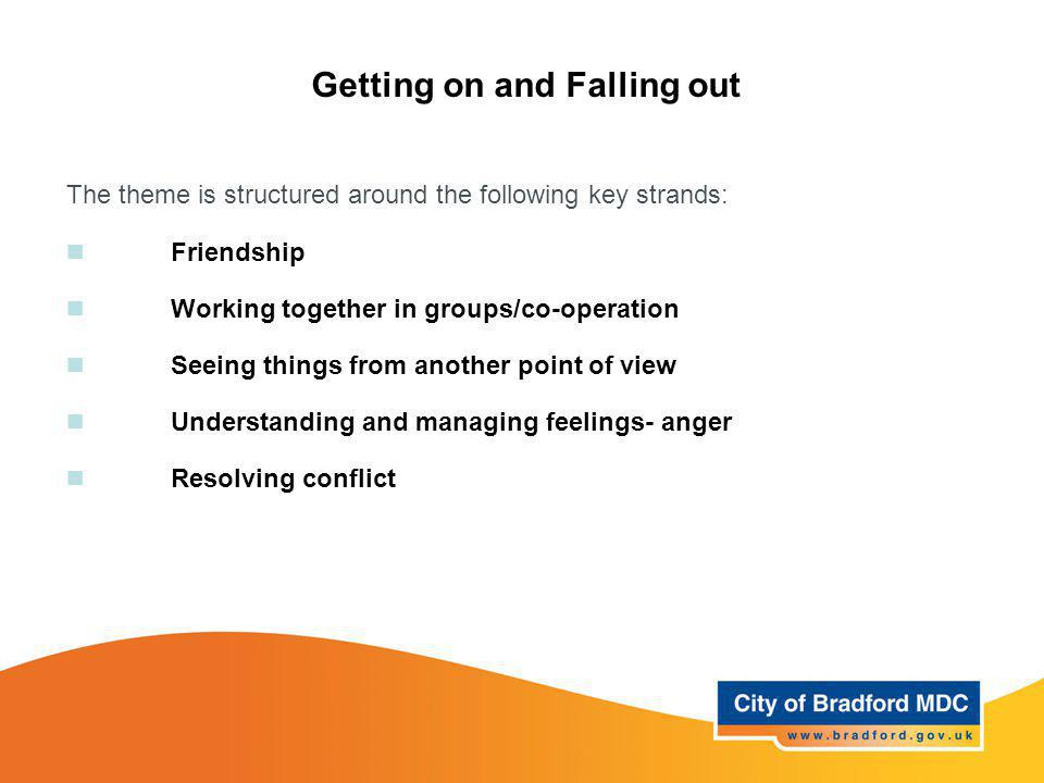 Getting on and Falling out The theme is structured around the following key strands: Friendship Working together in groups/co-operation Seeing things