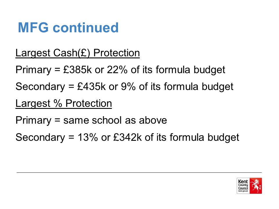 MFG continued Largest Cash(£) Protection Primary = £385k or 22% of its formula budget Secondary = £435k or 9% of its formula budget Largest % Protection Primary = same school as above Secondary = 13% or £342k of its formula budget