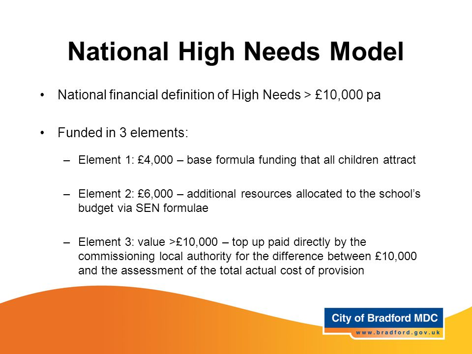 National High Needs Model National financial definition of High Needs > £10,000 pa Funded in 3 elements: –Element 1: £4,000 – base formula funding that all children attract –Element 2: £6,000 – additional resources allocated to the school's budget via SEN formulae –Element 3: value >£10,000 – top up paid directly by the commissioning local authority for the difference between £10,000 and the assessment of the total actual cost of provision