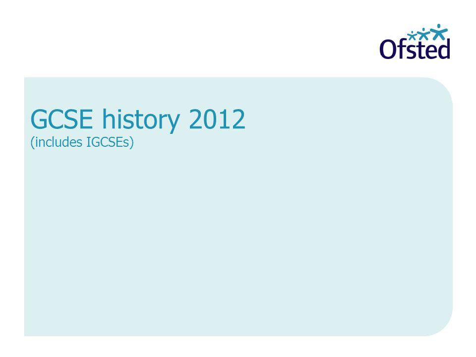 GCSE history 2012 (includes IGCSEs)