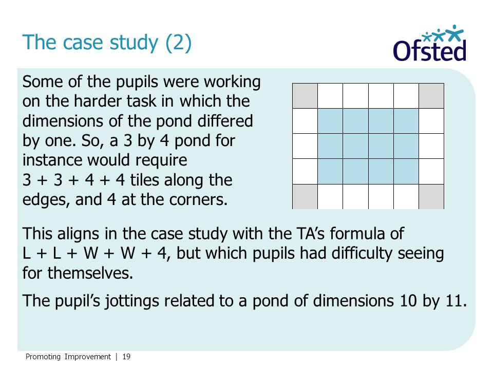 Promoting Improvement   19 The case study (2) Some of the pupils were working on the harder task in which the dimensions of the pond differed by one.
