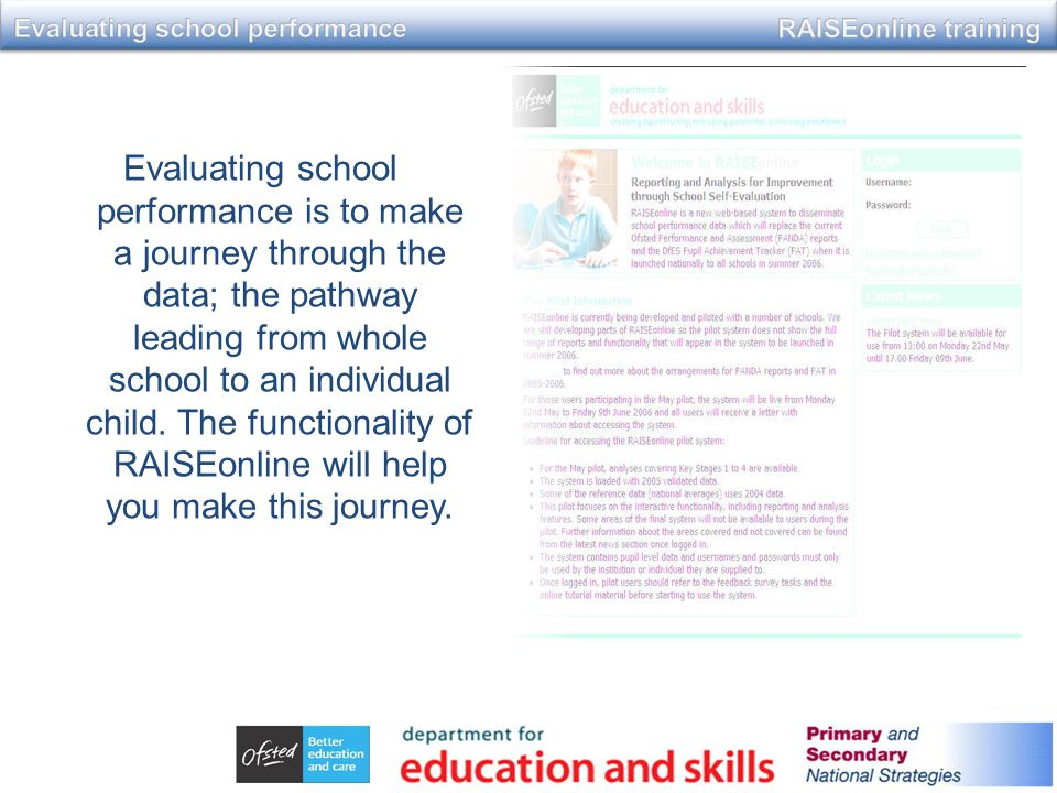 Evaluating school performance is to make a journey through the data; the pathway leading from whole school to an individual child.