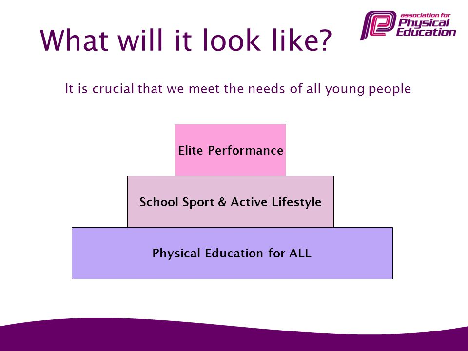 What will it look like? It is crucial that we meet the needs of all young people Physical Education for ALL School Sport & Active Lifestyle Elite Perf