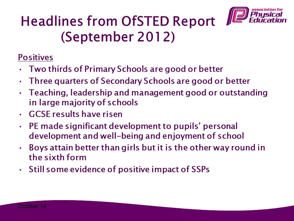 Headlines from OfSTED Report (September 2012) Positives Two thirds of Primary Schools are good or better Three quarters of Secondary Schools are good or better Teaching, leadership and management good or outstanding in large majority of schools GCSE results have risen PE made significant development to pupils' personal development and well-being and enjoyment of school Boys attain better than girls but it is the other way round in the sixth form Still some evidence of positive impact of SSPs October 14
