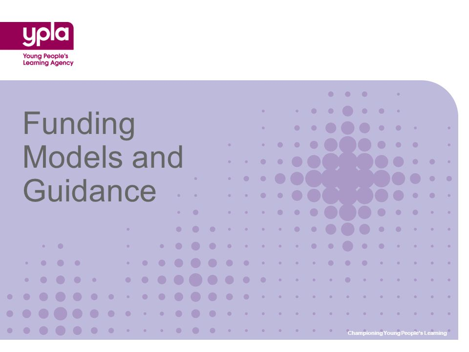 Funding Models and Guidance Championing Young People's Learning
