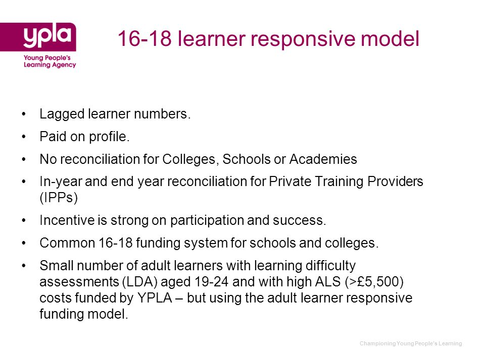 Championing Young People's Learning 16-18 learner responsive model Lagged learner numbers.