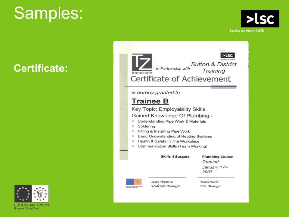 Samples: Certificate: