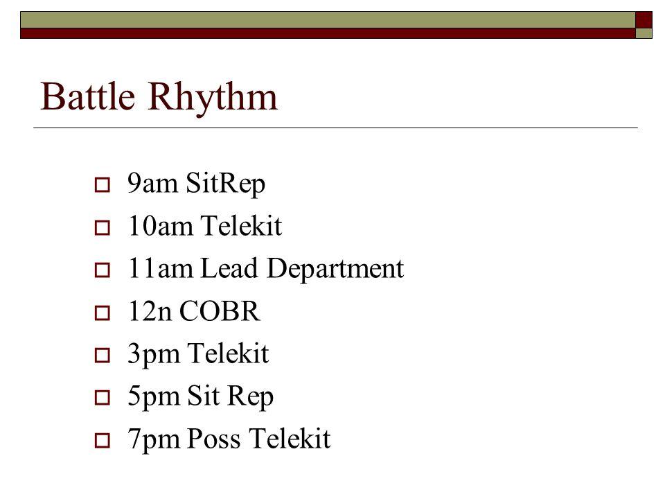 Battle Rhythm  9am SitRep  10am Telekit  11am Lead Department  12n COBR  3pm Telekit  5pm Sit Rep  7pm Poss Telekit