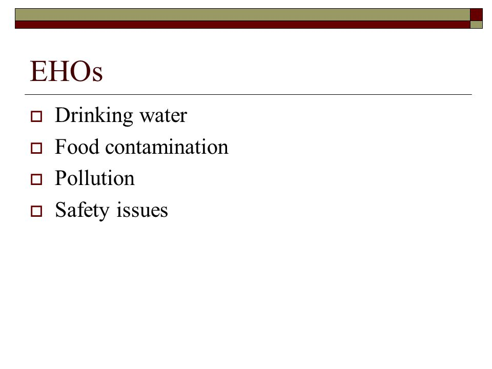 EHOs  Drinking water  Food contamination  Pollution  Safety issues